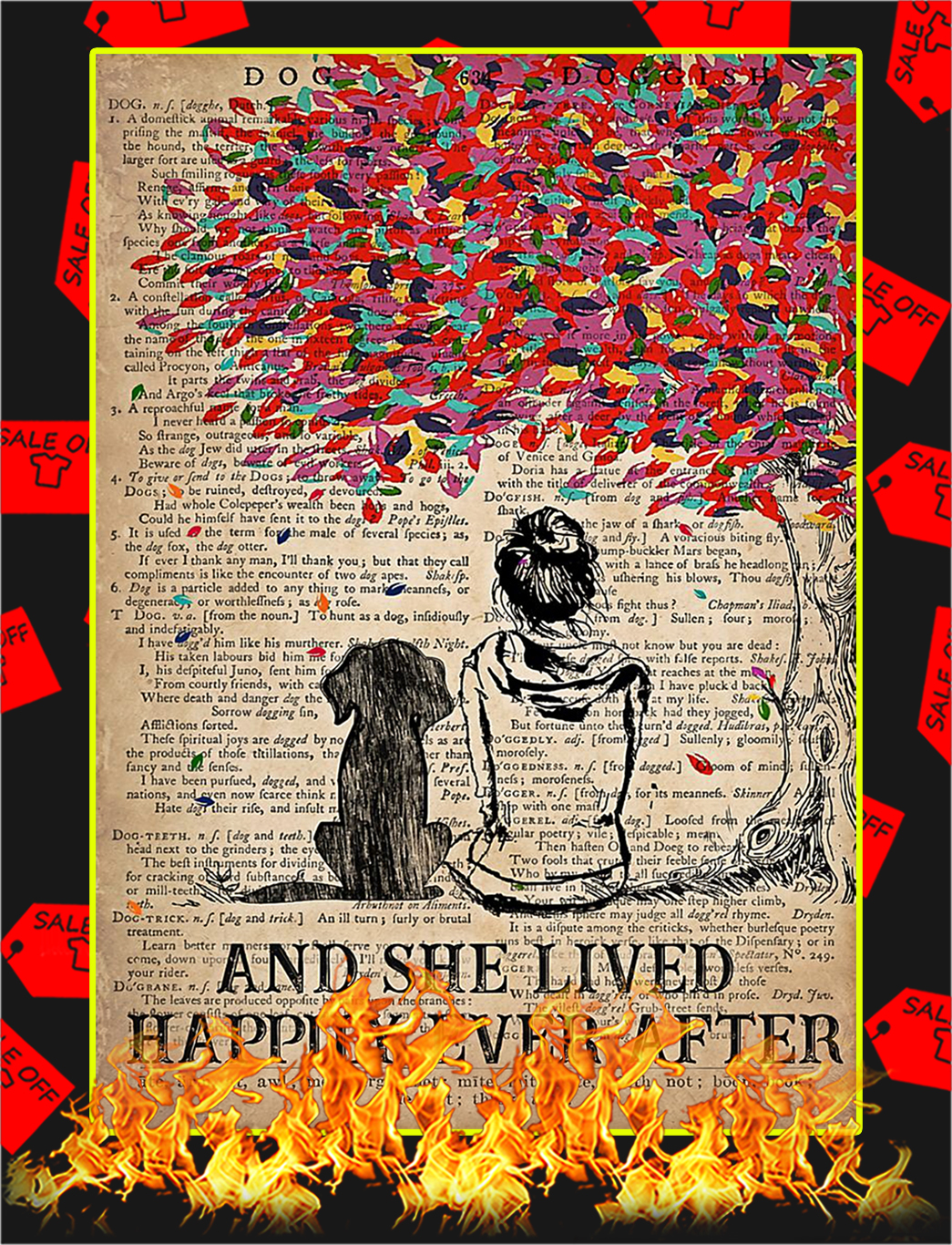 And she lived happily ever after dog dictionary poster - A3
