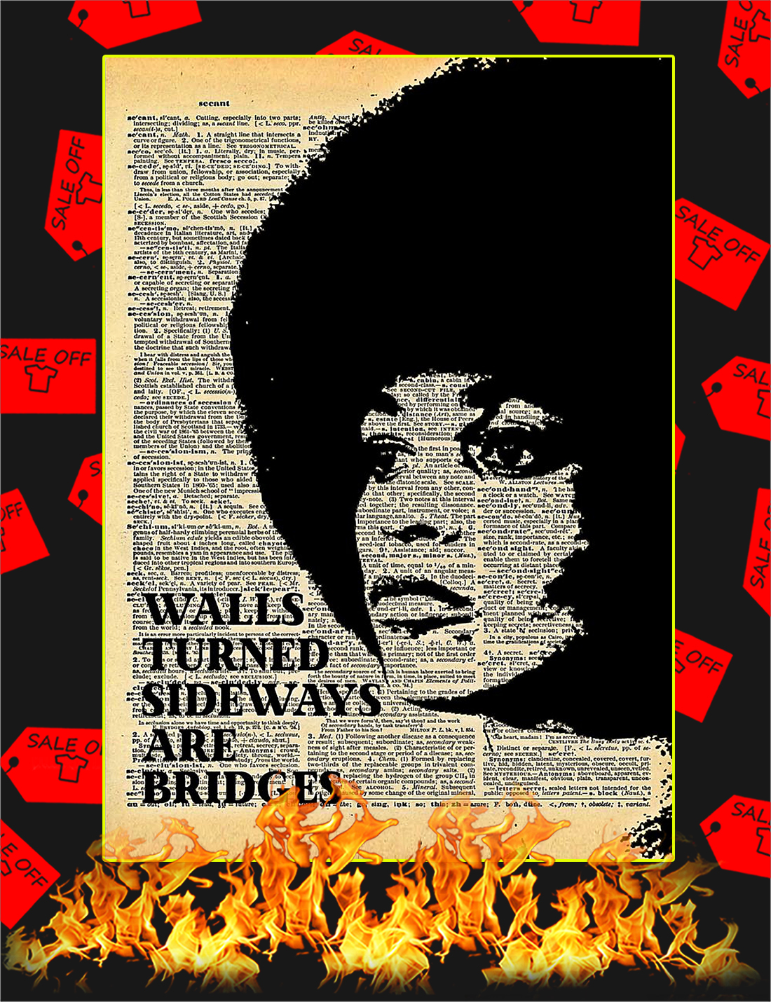 Angela Davis Walls turned sideways are bridges poster - A4