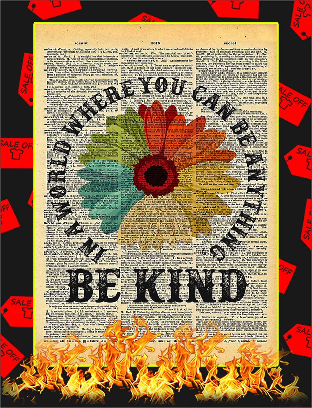 Be Kind Daisy Dictionary Poster - A1