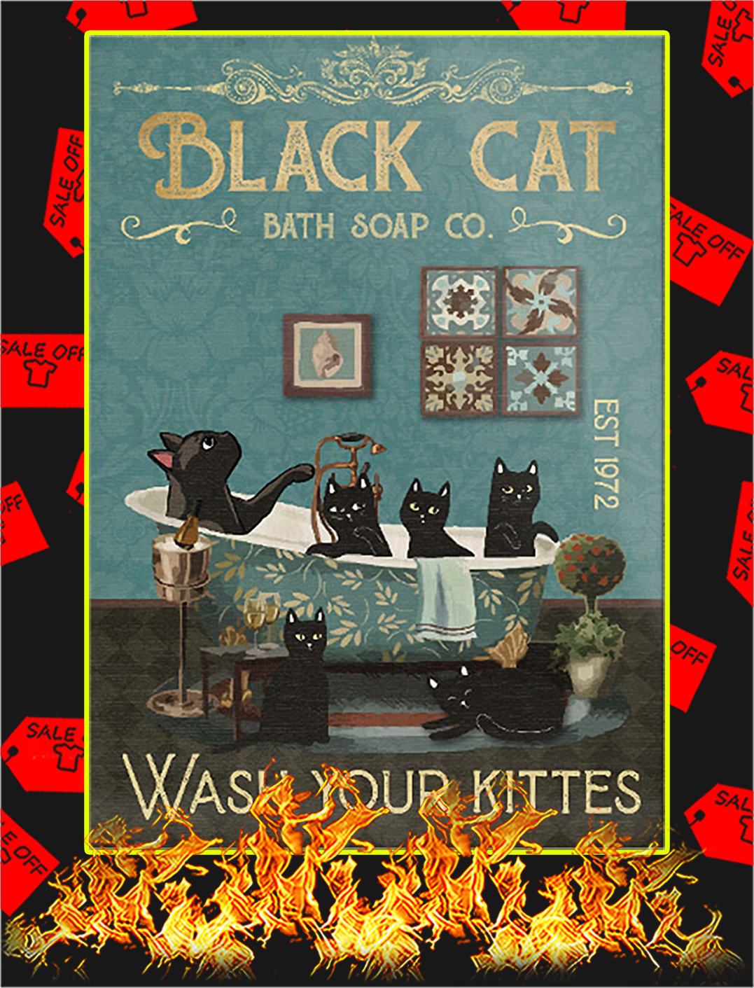 Black cat bath soap co wash your kittes poster - A1