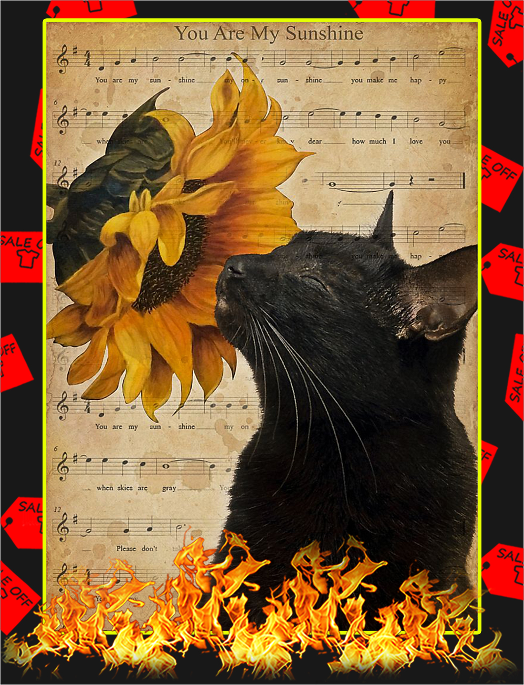 Cat you are my sunshine poster - A4