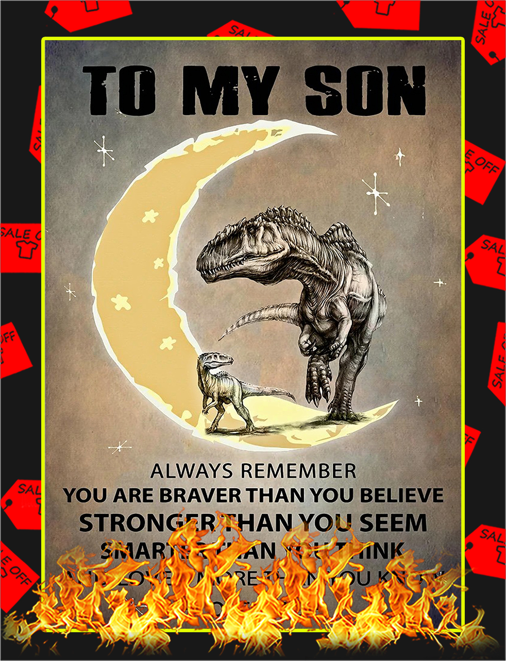Dinosaur Dad to my son poster - A3
