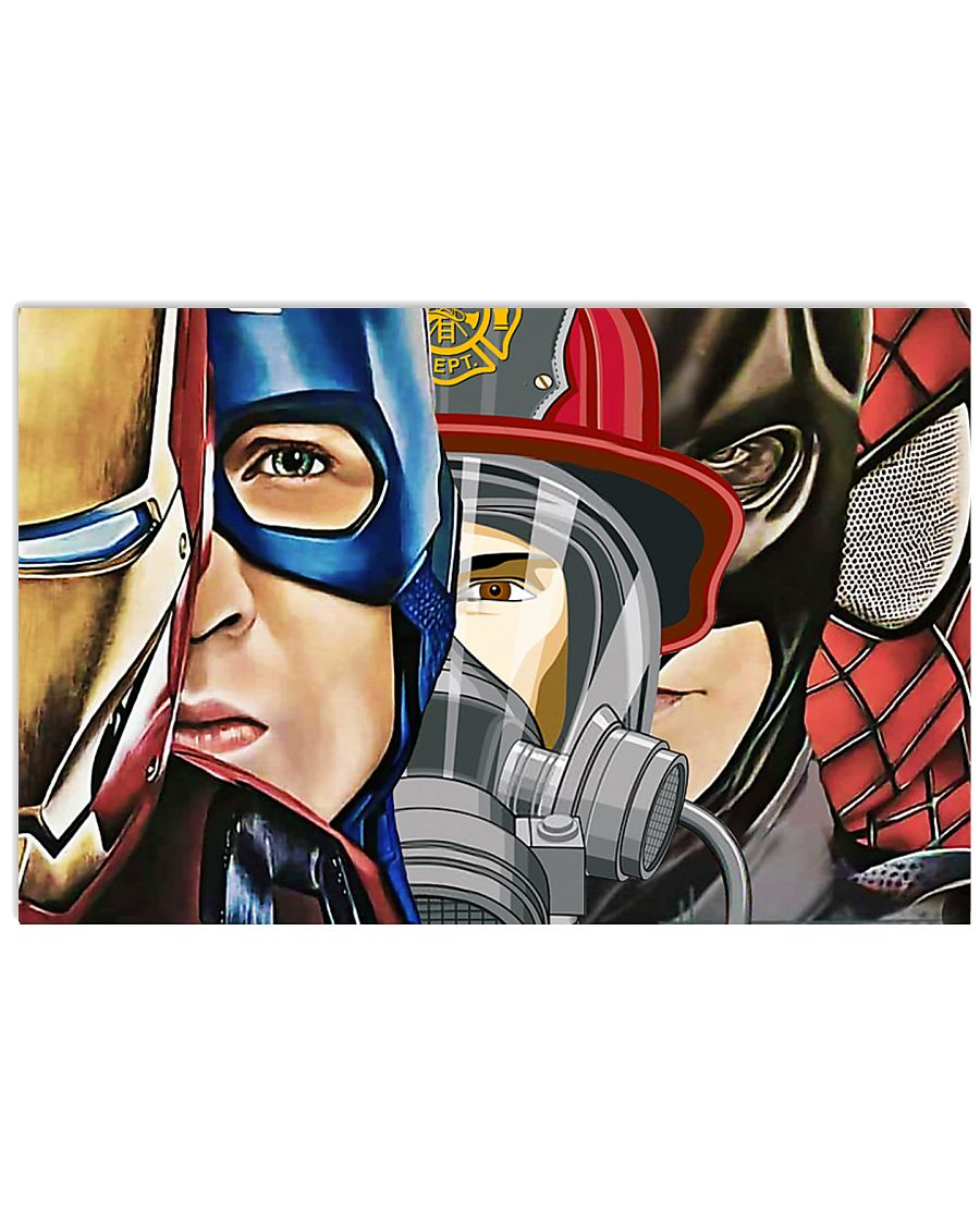 Firefighter super heroes iron man poster