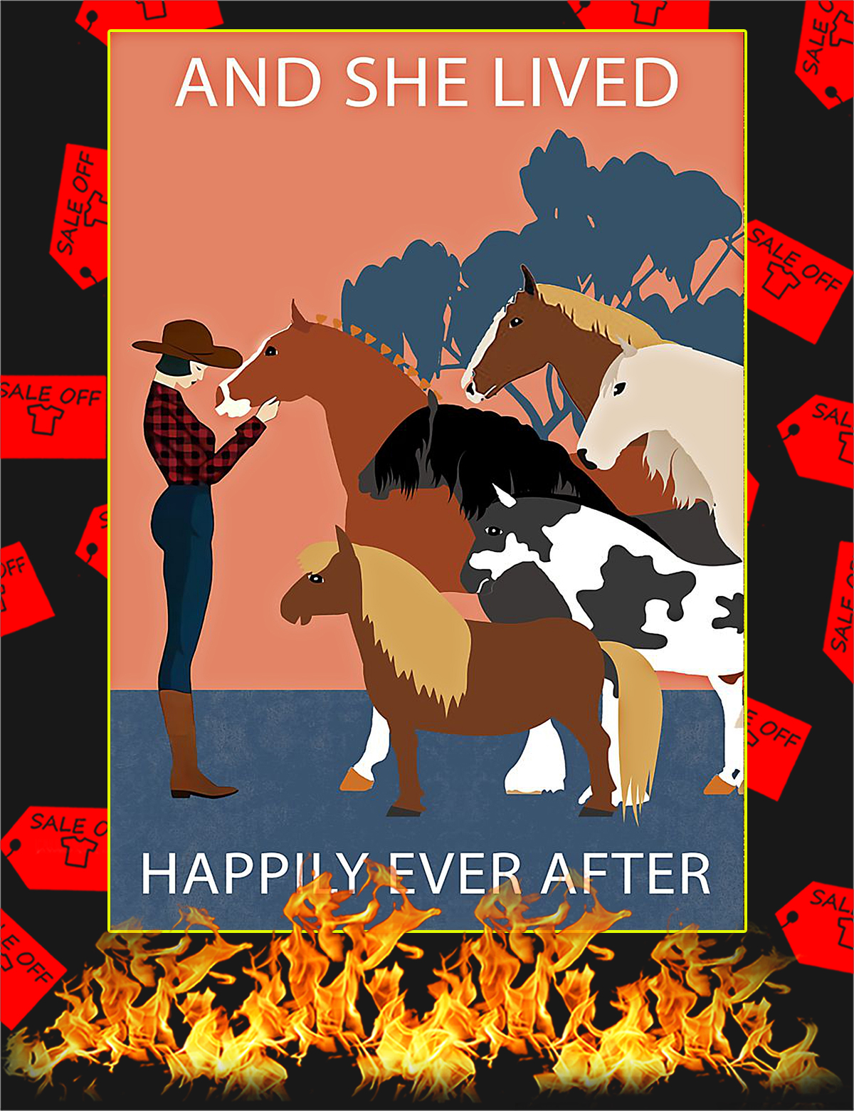 Horses And she lived happily ever after poster - A4