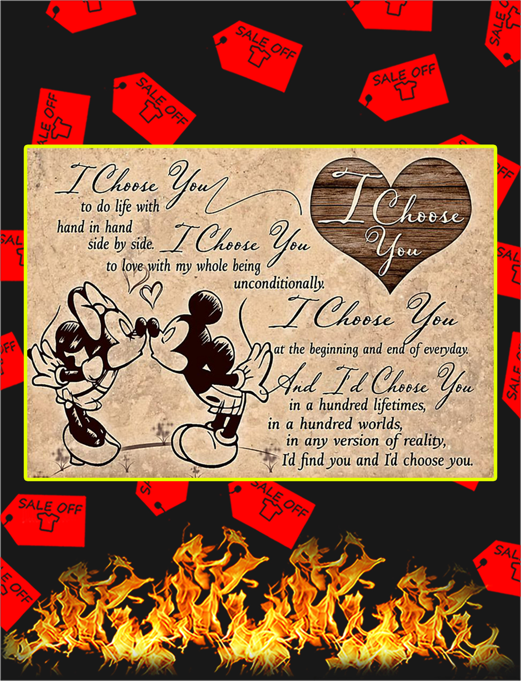 Mickey and minnie I choose you poster - A3