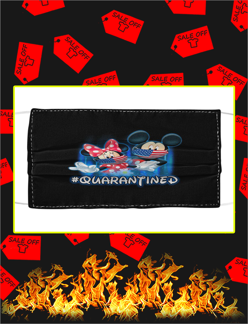 Mickey and minnie quarantined cloth face mask- pic 1