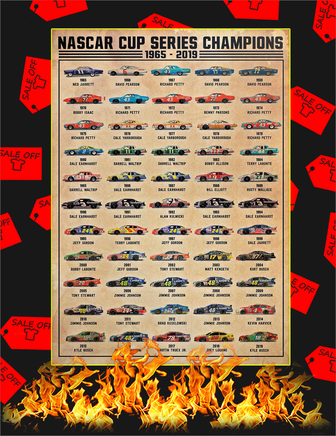 Nascar cup series champions 1965 2019 poster - A4