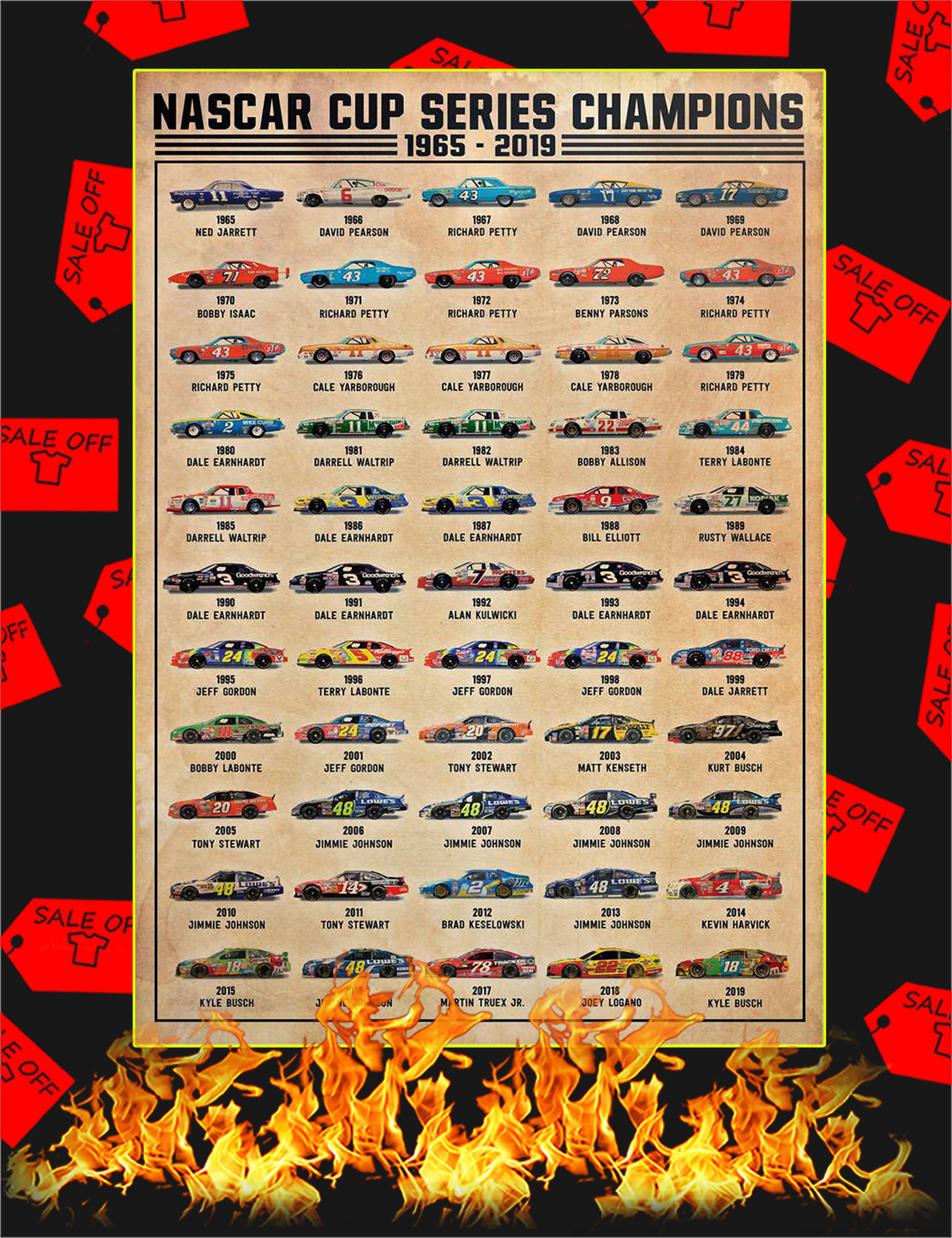 Nascar cup series champions poster - A1