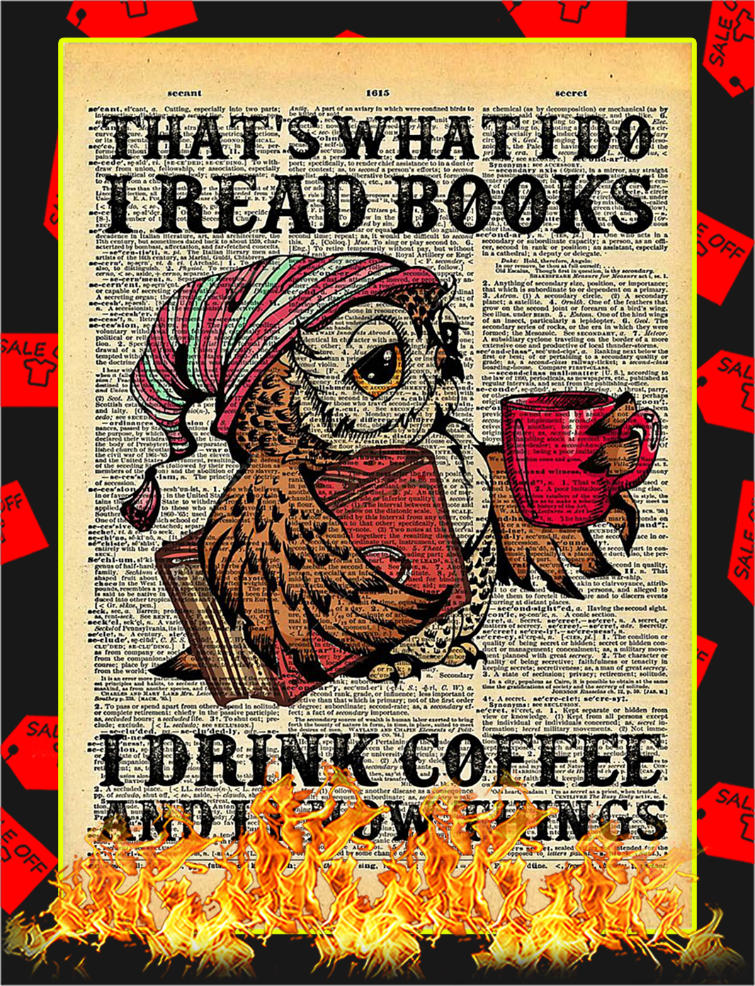 Owl That's what I do I read books drink coffee poster - A3