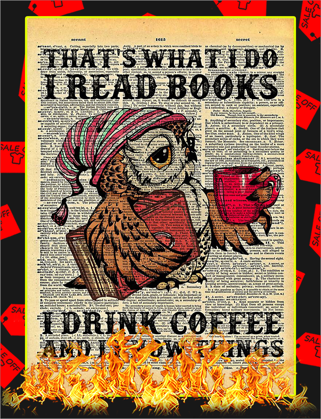 Owl That's what I do I read books drink coffee poster - A4