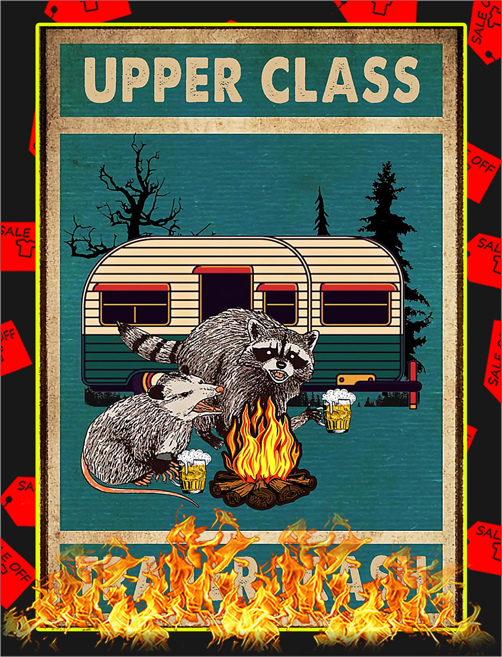 Raccoon and opossum upper class trailer trash poster -A4