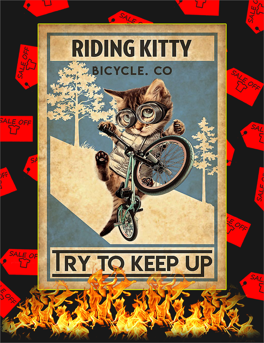 Riding kitty bicycle co try to keep up poster - A4