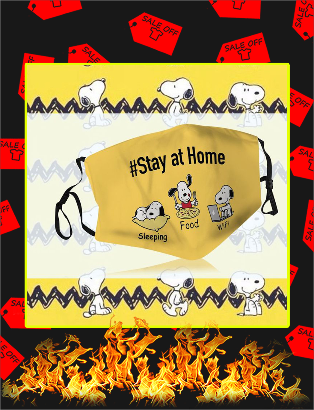 Snoopy stay at home face mask- pic 1
