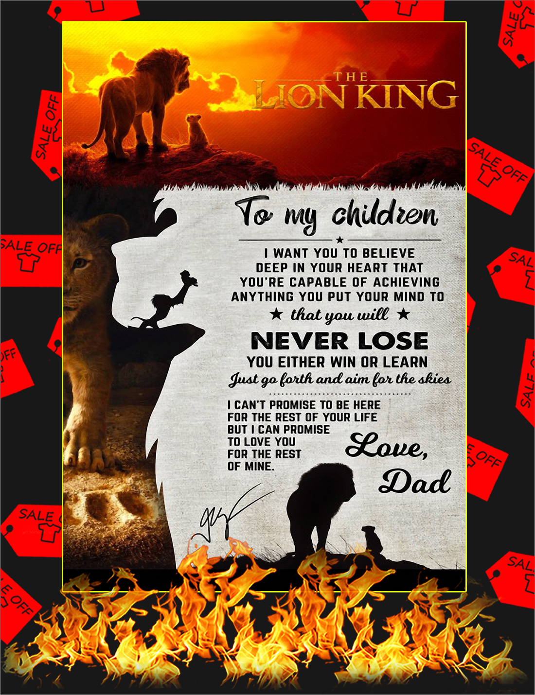 The lion king to my children love dad poster - A4