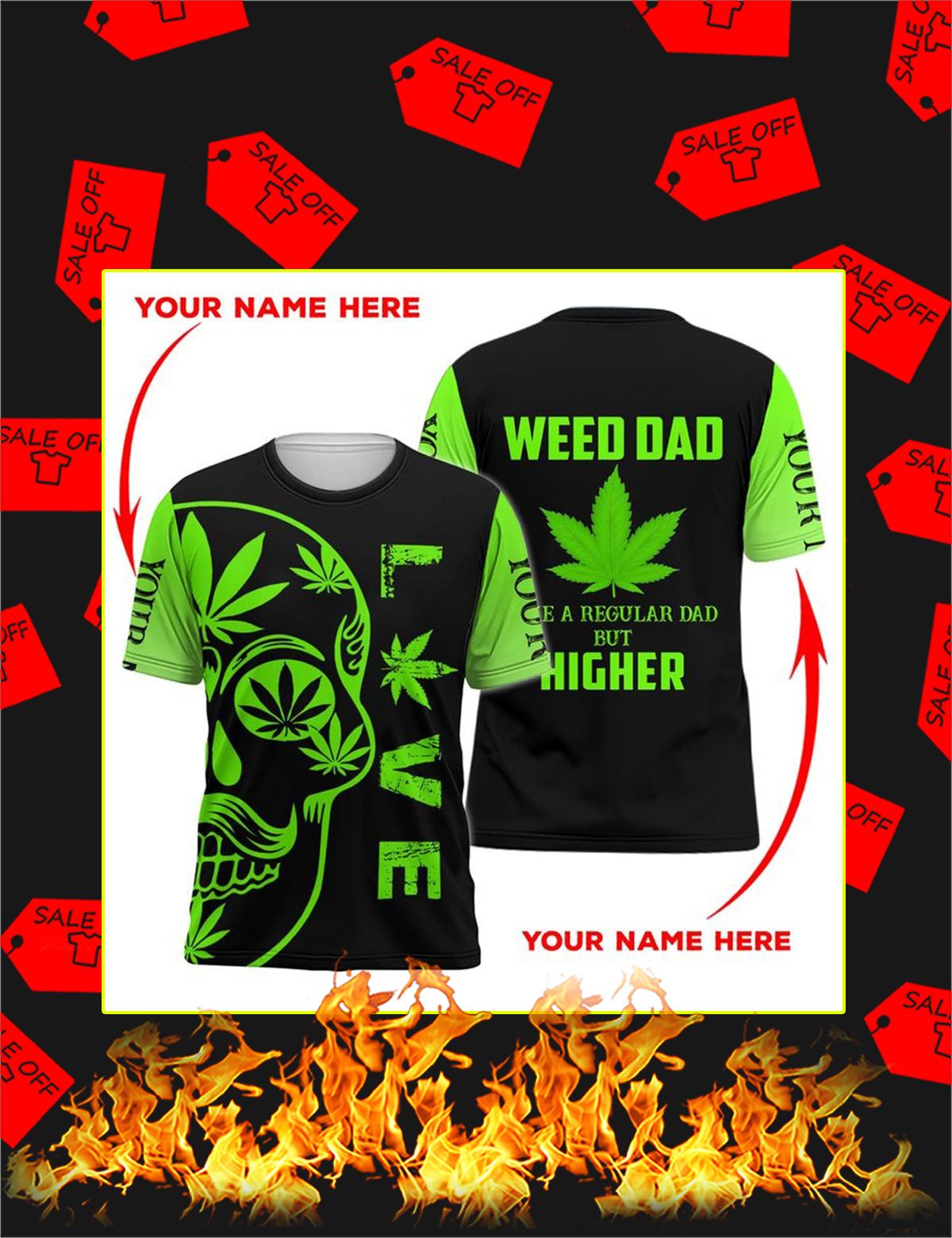 Weed dad skull personalize custom name 3d Shirt