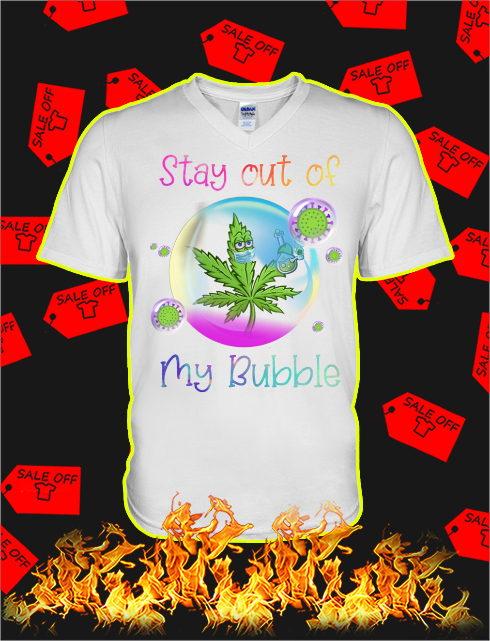 Weed stay out of my bubble v-neck