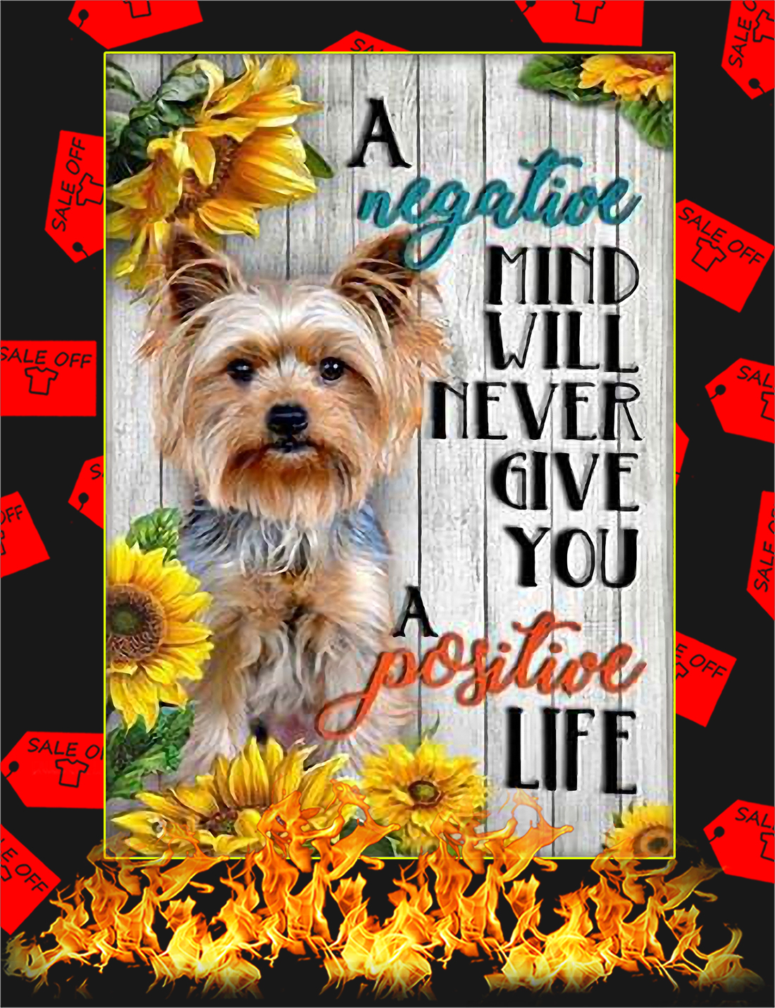Yorkshire A negative mind will never give you a positive life poster - A4