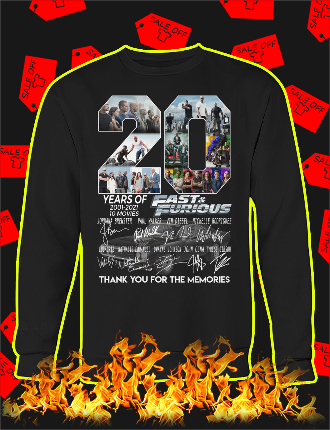 20 years of fast and furious thank you for the memories sweatshirt