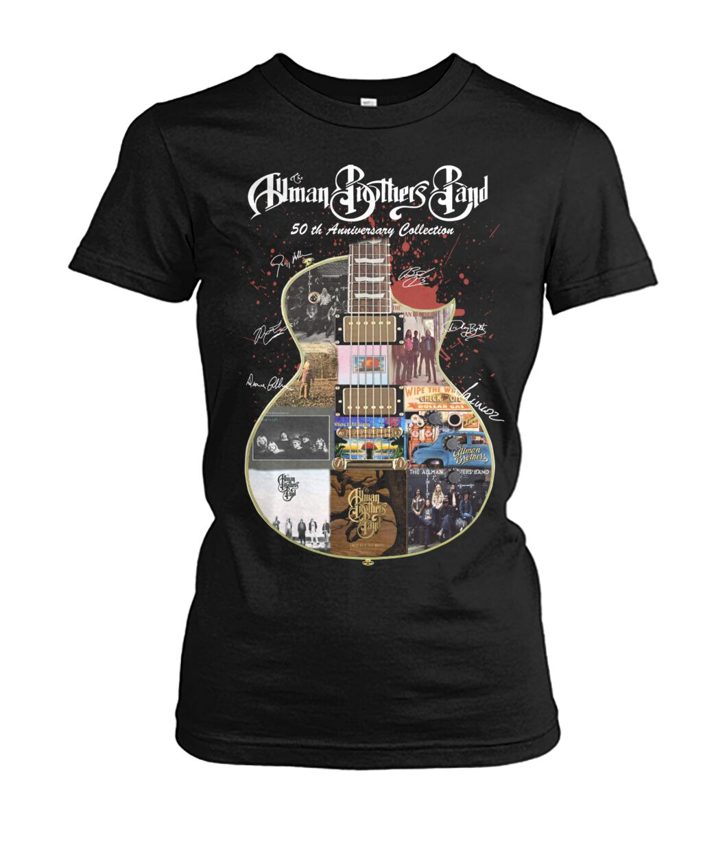 Allman brothers band 50th anniversary collection guitar signature women shirt