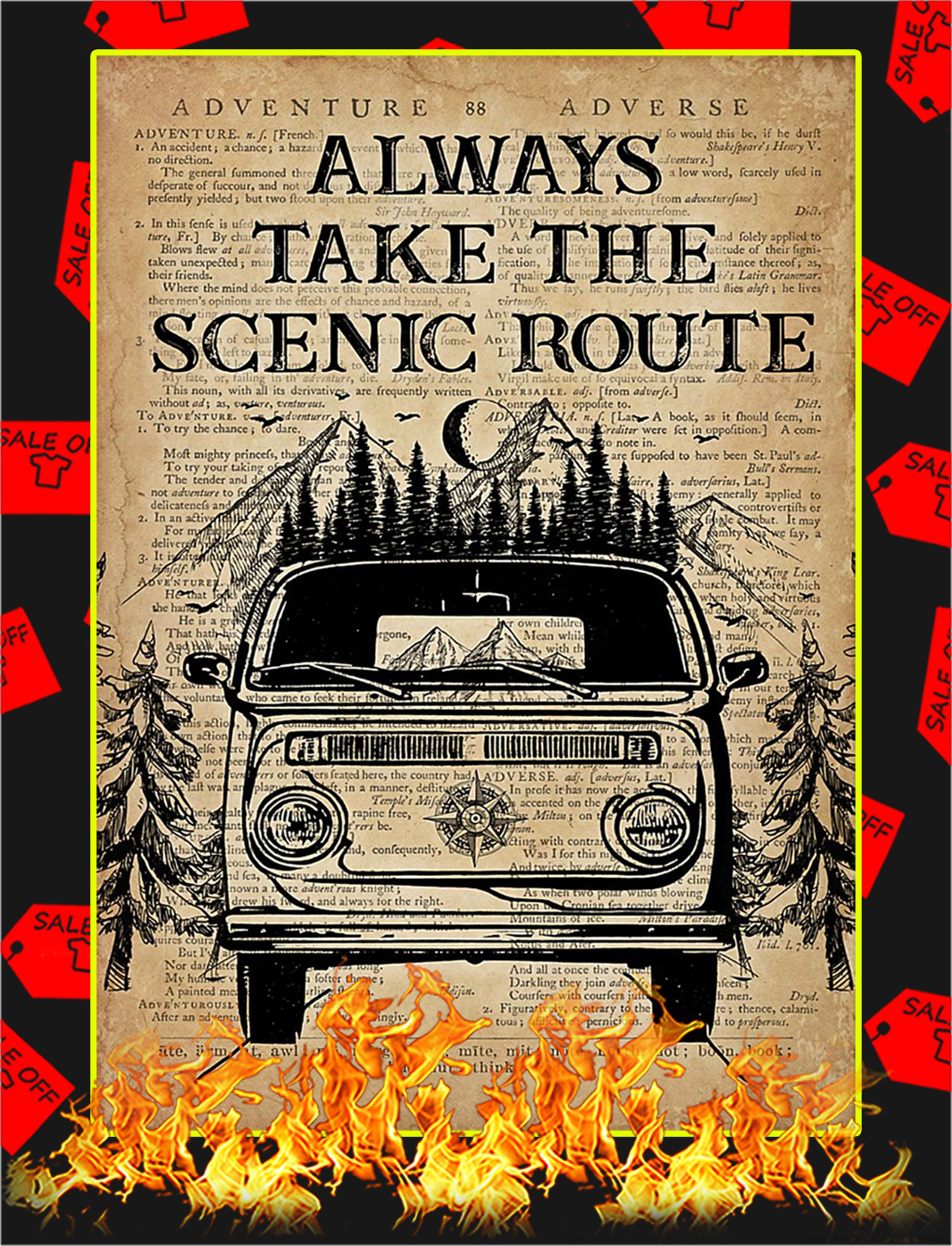 Always take the scenic route poster - A2