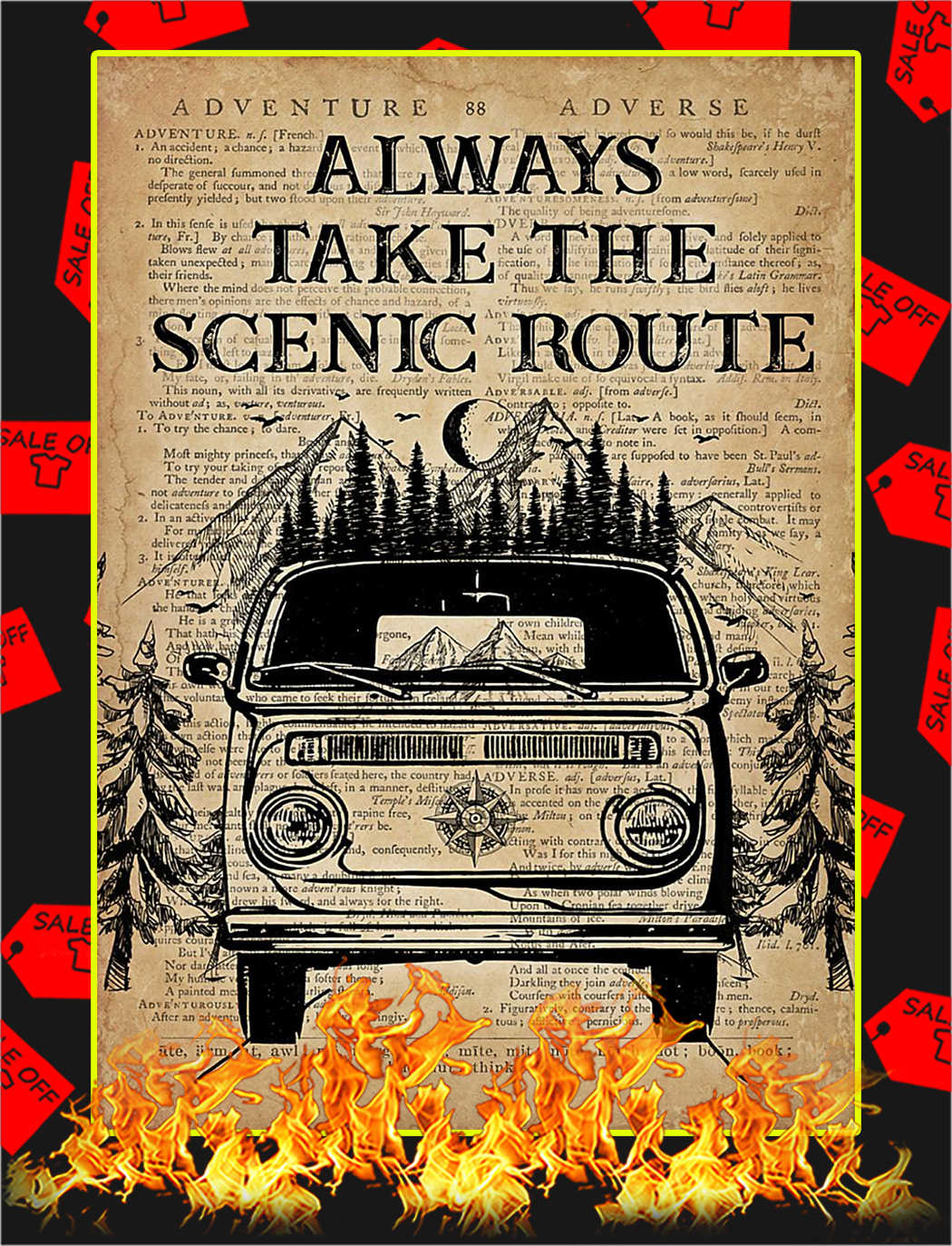 Always take the scenic route poster - A3