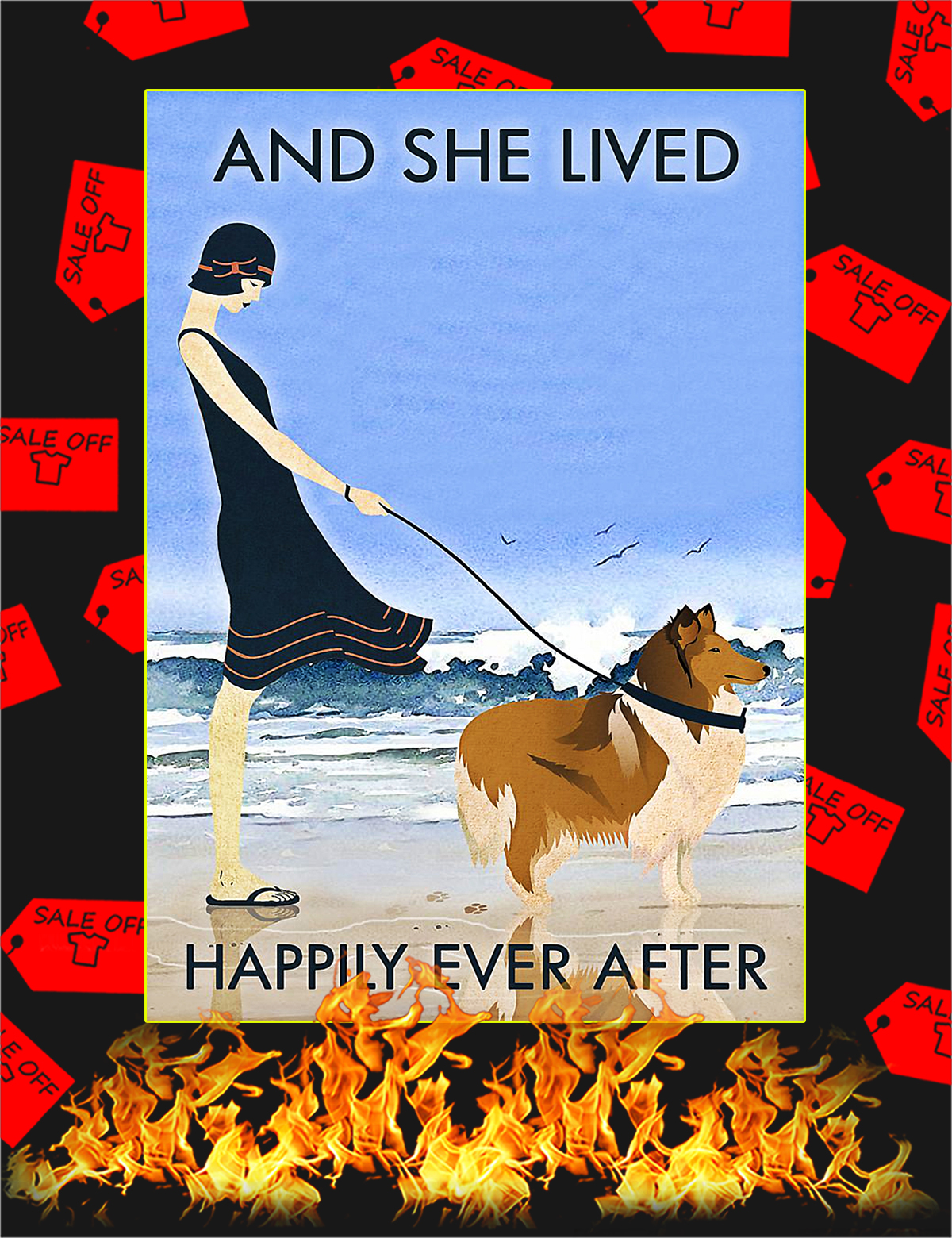 Beach and collie dog and she lived happily ever after poster - A4