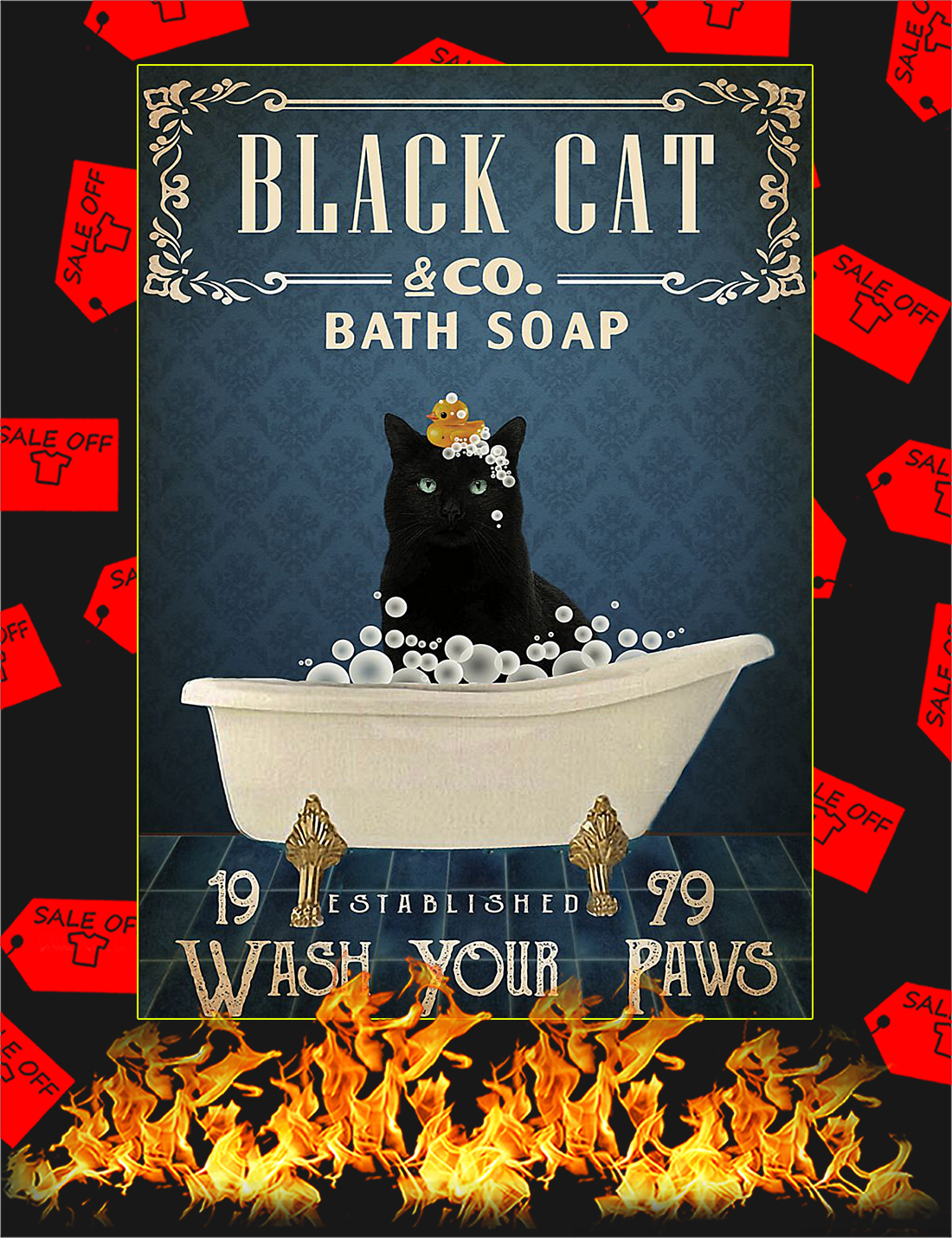 Black cat company bath soap poster - A4