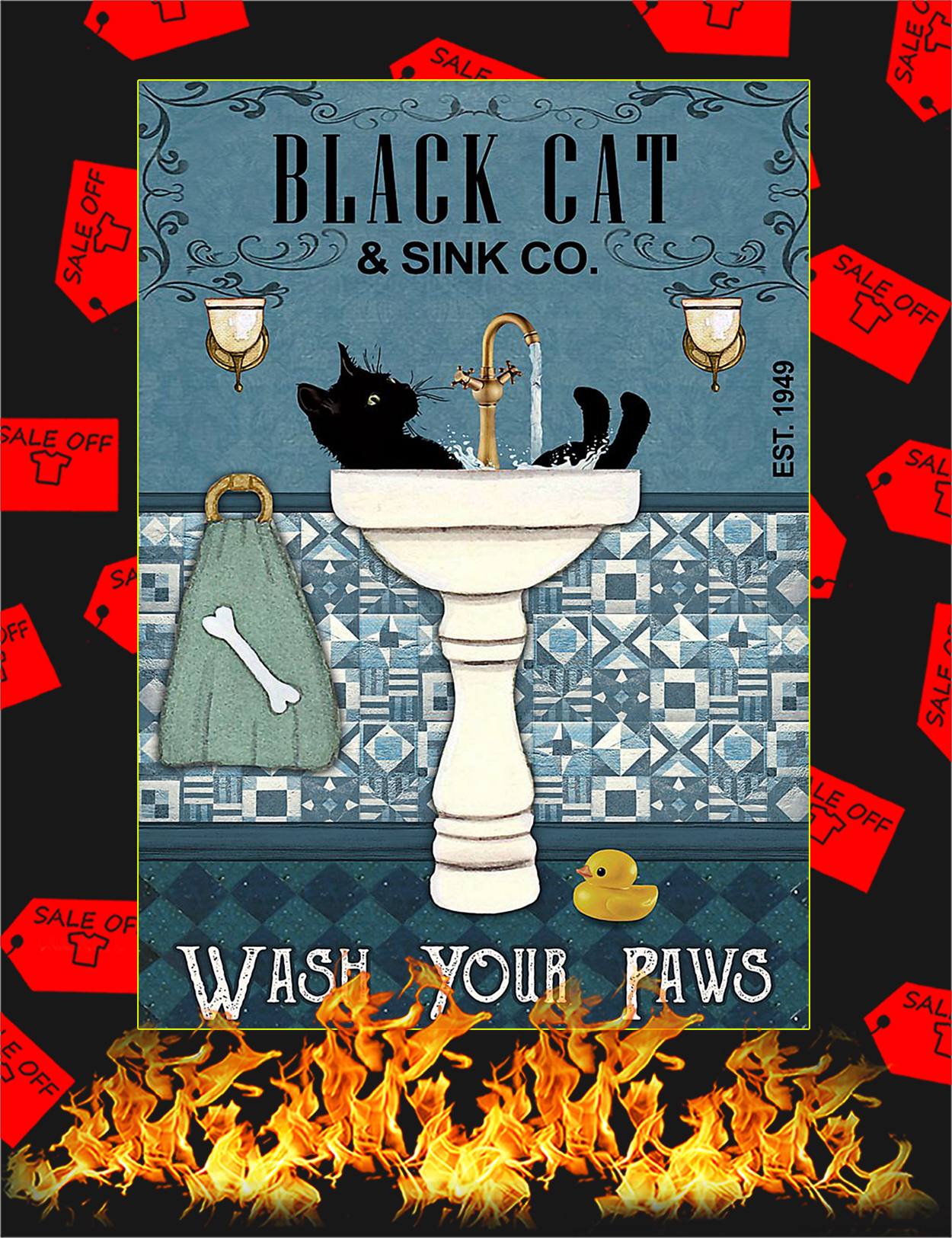 Black cat sink co wash your paws poster - A3