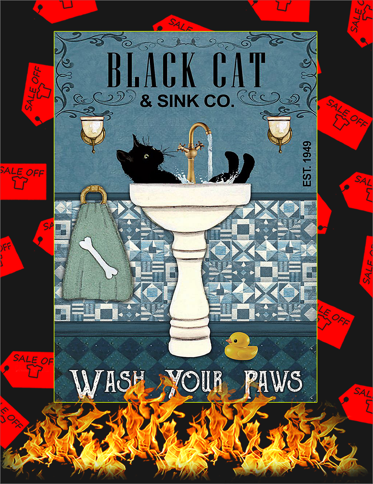 Black cat sink co wash your paws poster - A4
