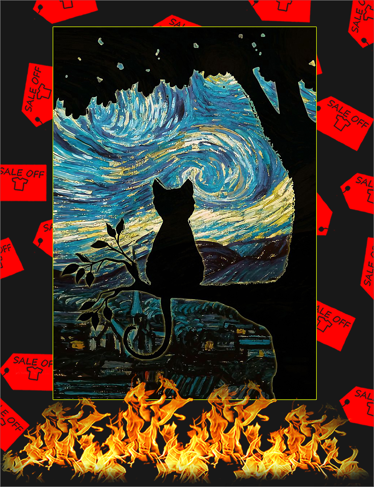 Cat Starry Night Art Poster - A4