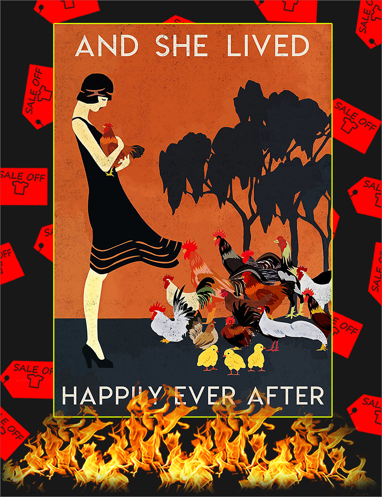 Chicken And she lived happily ever after poster - A4