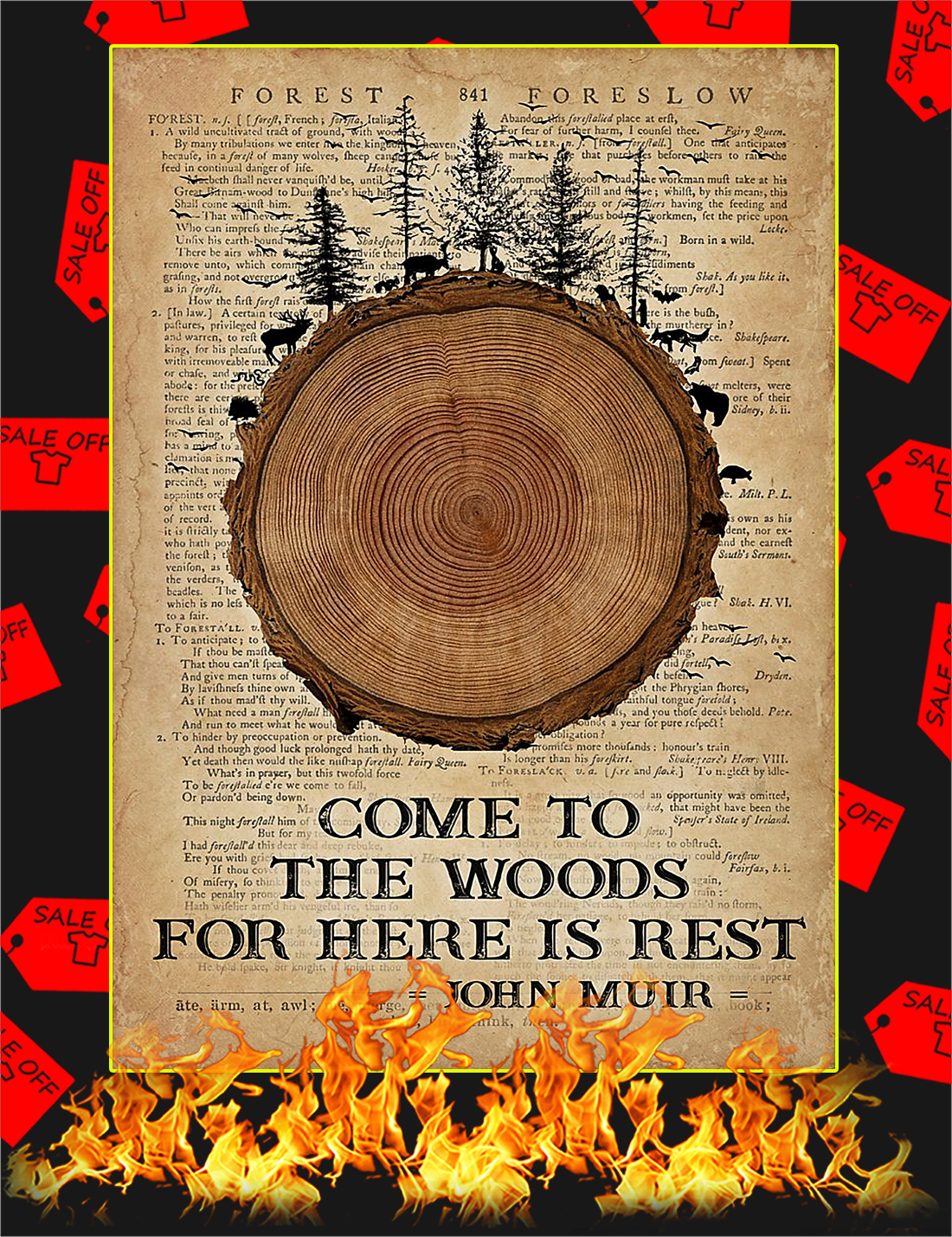Come to the woods for here is rest poster