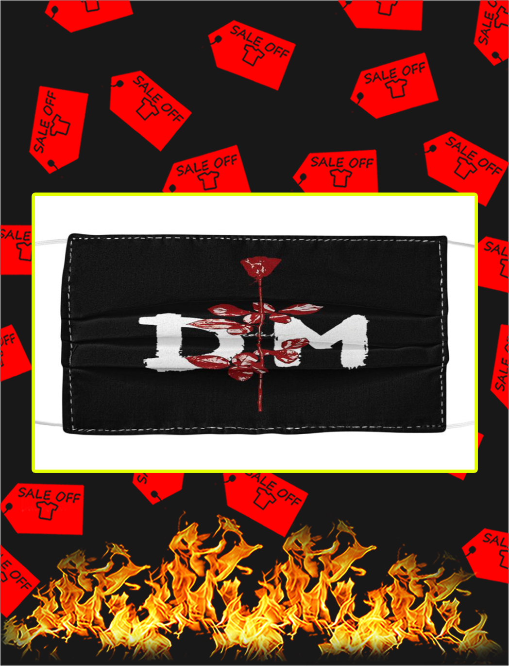 Depeche mode DM rose face mask- pic 1