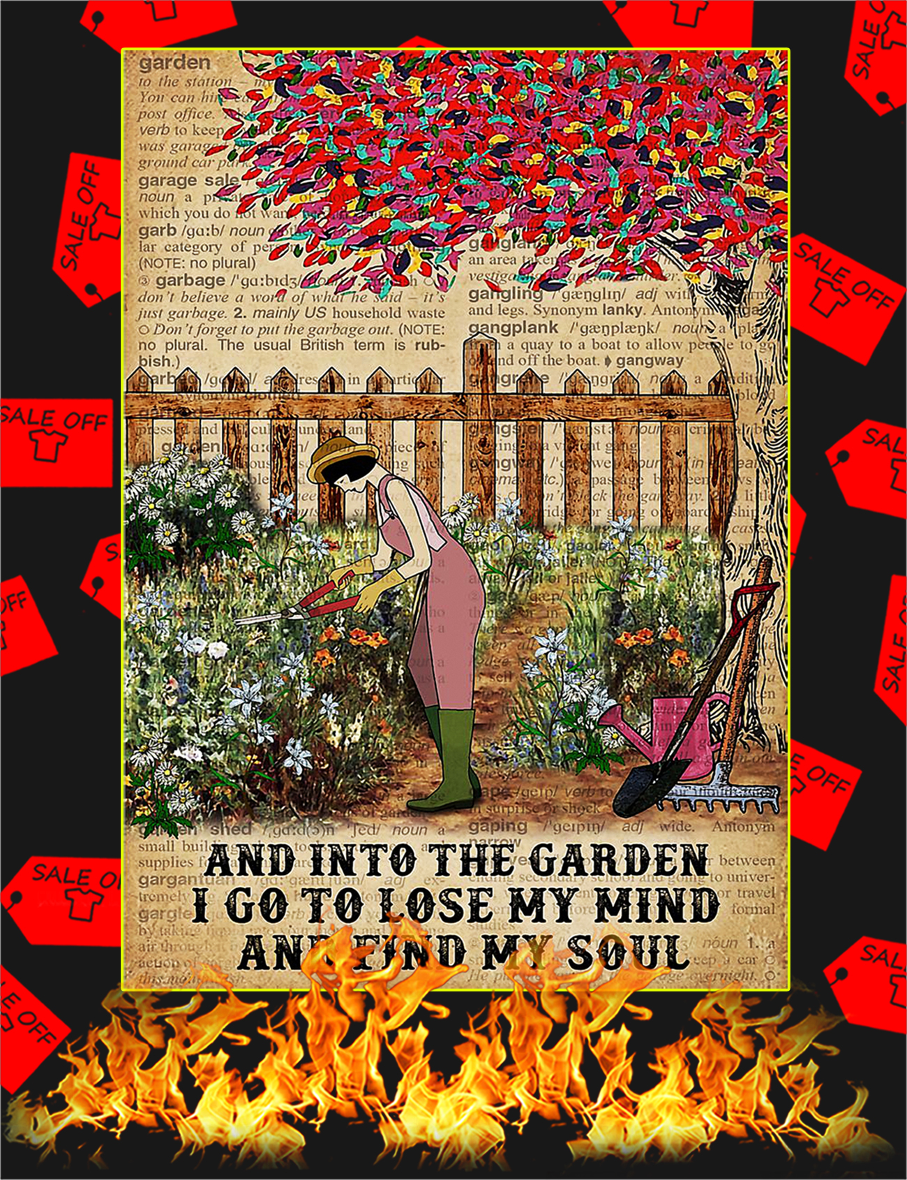 Dictionary And into the garden I go to lose my mind and find my soul poster - A1