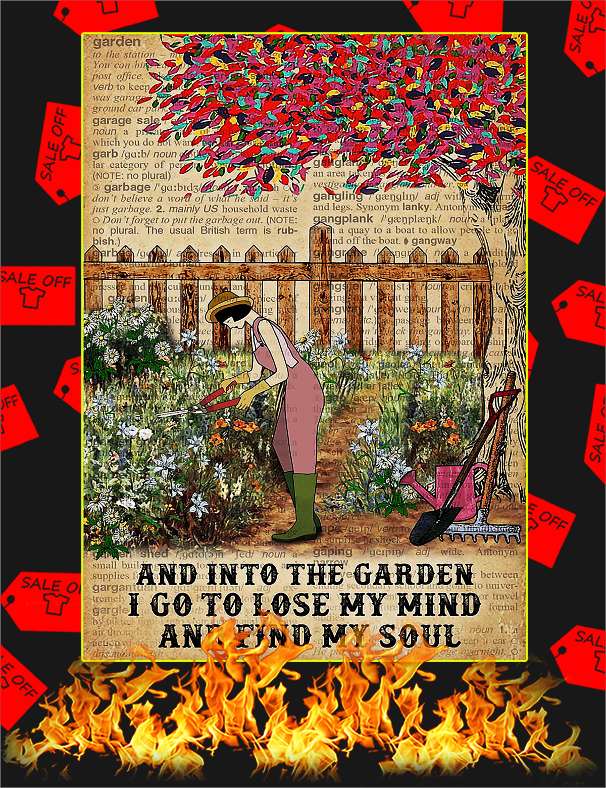 Dictionary And into the garden I go to lose my mind and find my soul poster - A4