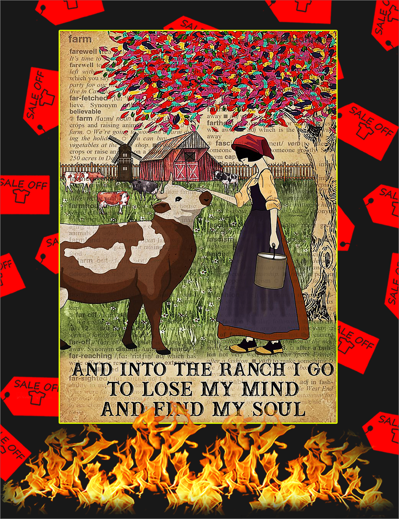 Dictionary cattle farm girl And into the ranch I go to lose my mind and find my soul poster - A4