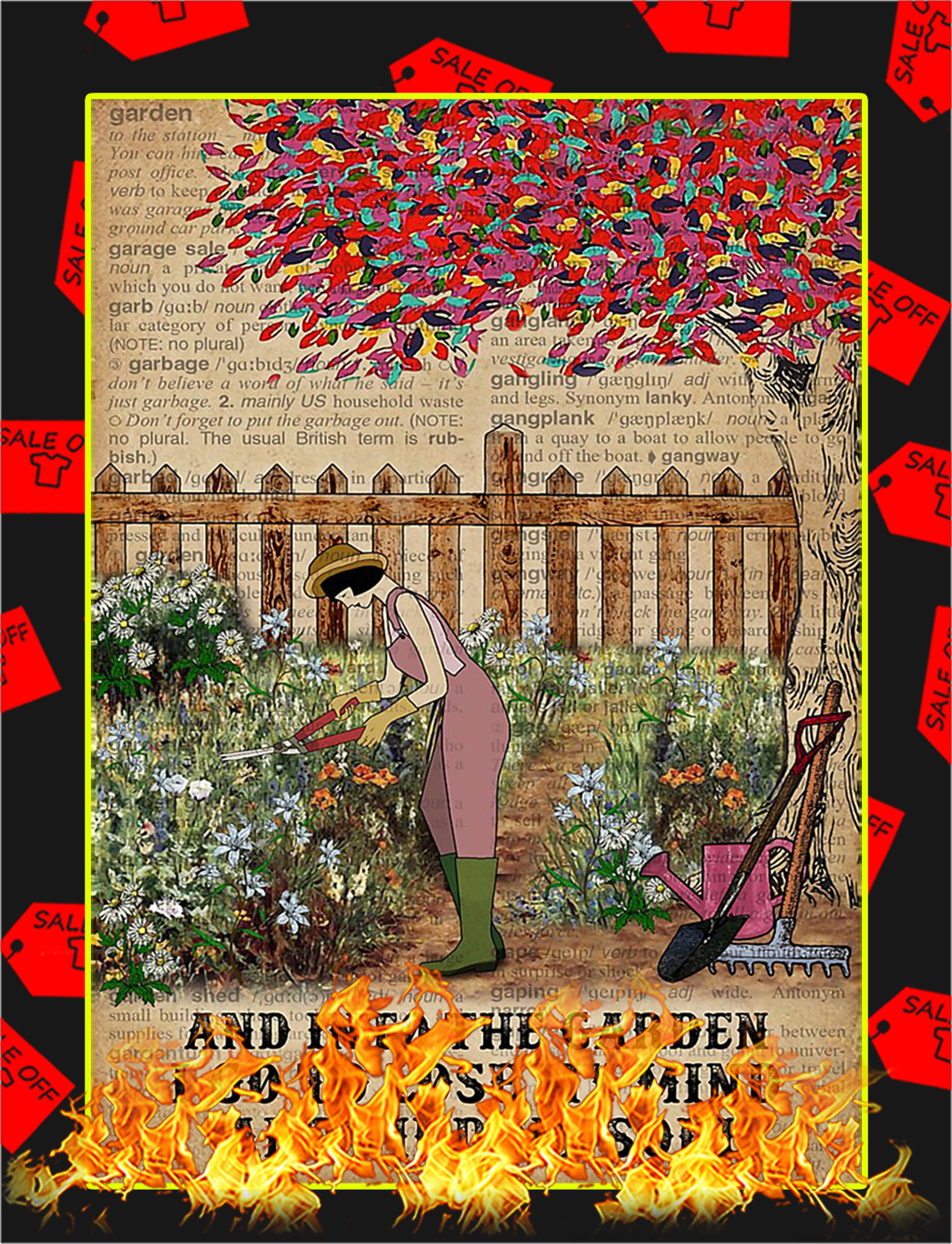 Dictionary girl And into the garden I go to lose my mind poster - A2
