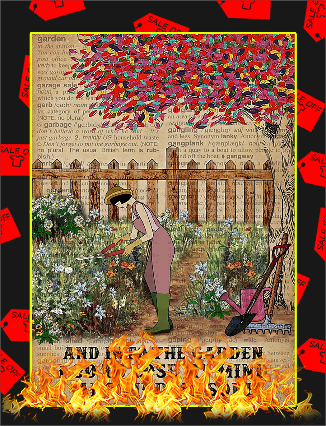 Dictionary girl And into the garden I go to lose my mind poster - A4