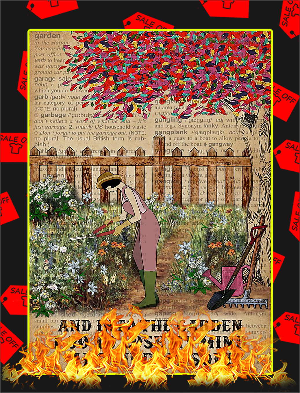 Dictionary girl And into the garden I go to lose my mind poster