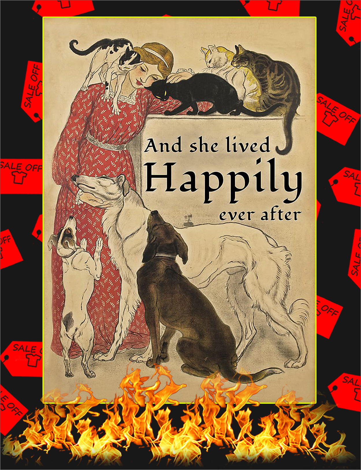 Dog and cat And she lived happily ever after poster - A2