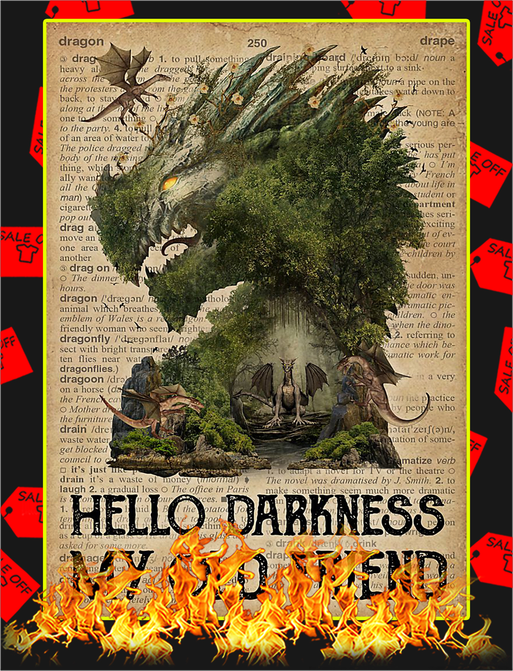 Dragon hello darkness my old friend poster - A4