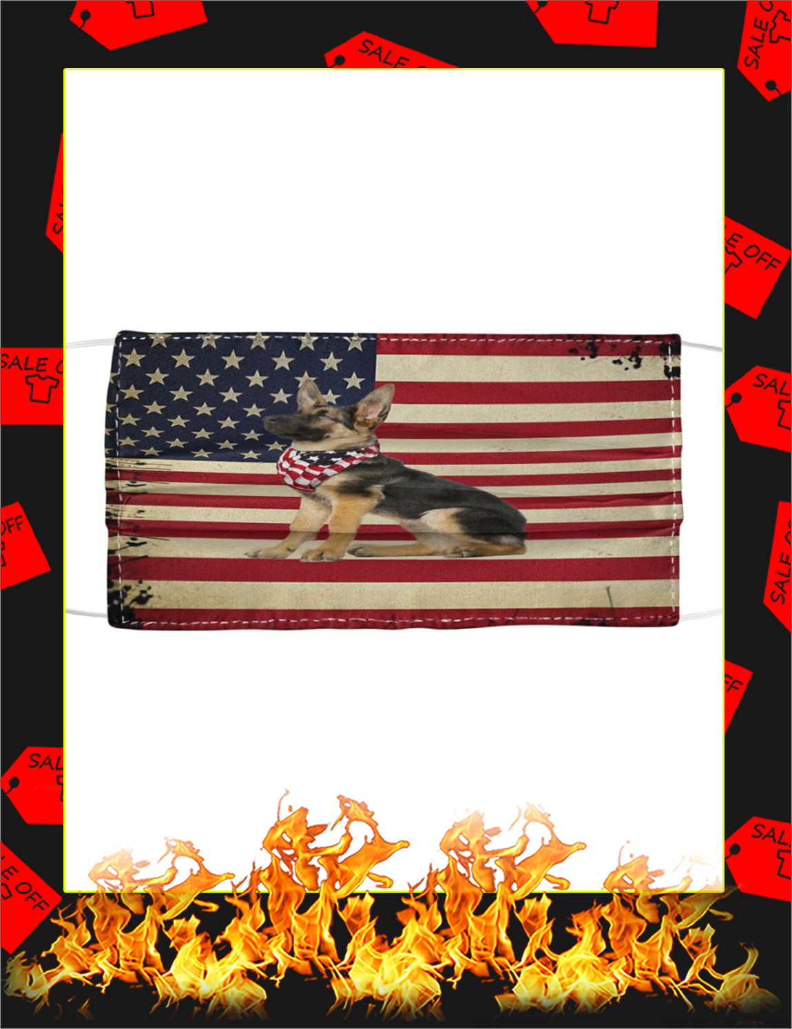 German shepherd american flag face mask - Picture 1