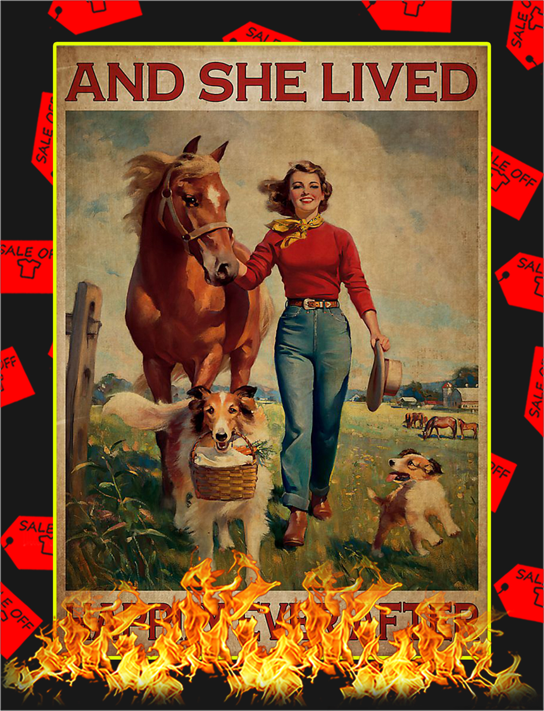 Girl with horse and dog lived happily ever after poster - A2