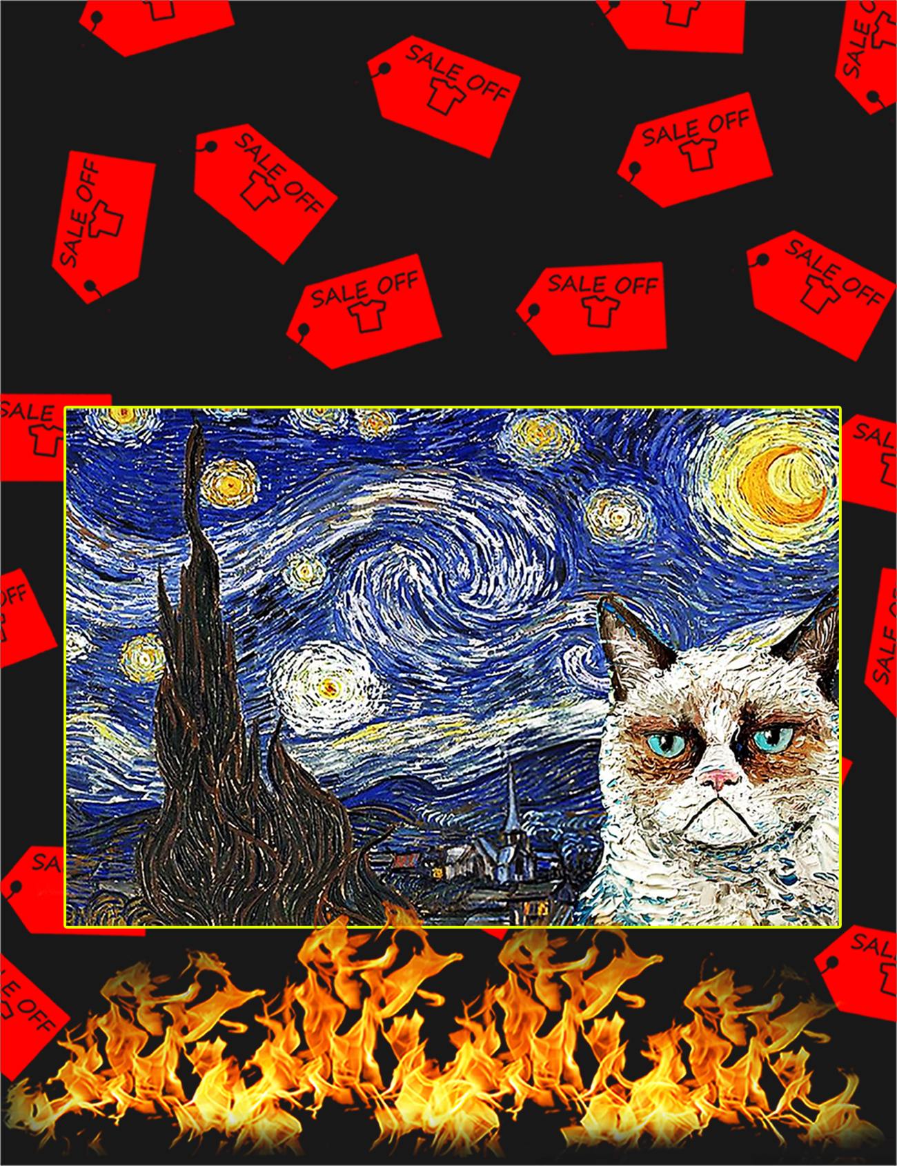 Grumpy cat starry night poster - A1