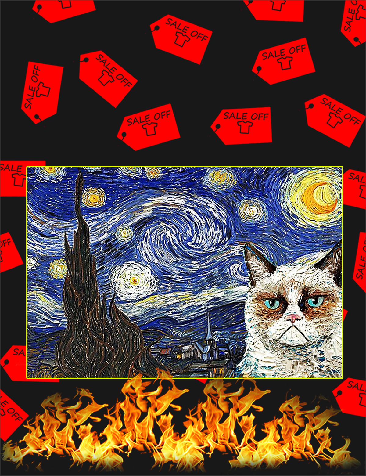 Grumpy cat starry night poster - A4