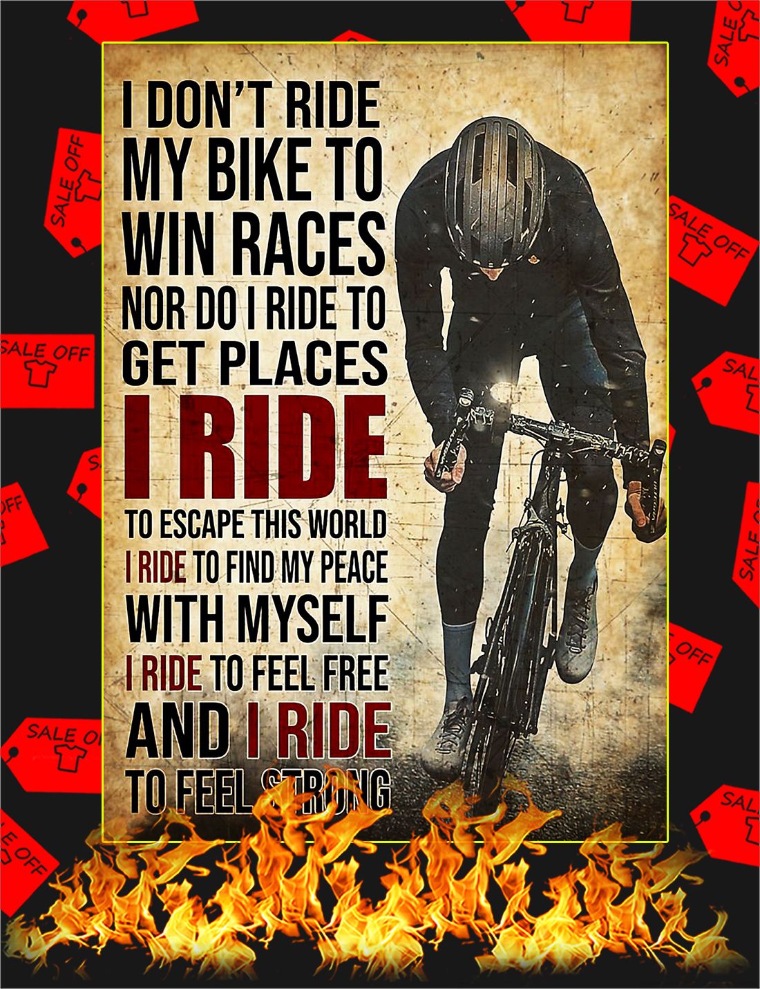 I Don T Ride My Bike To Win Races Poster