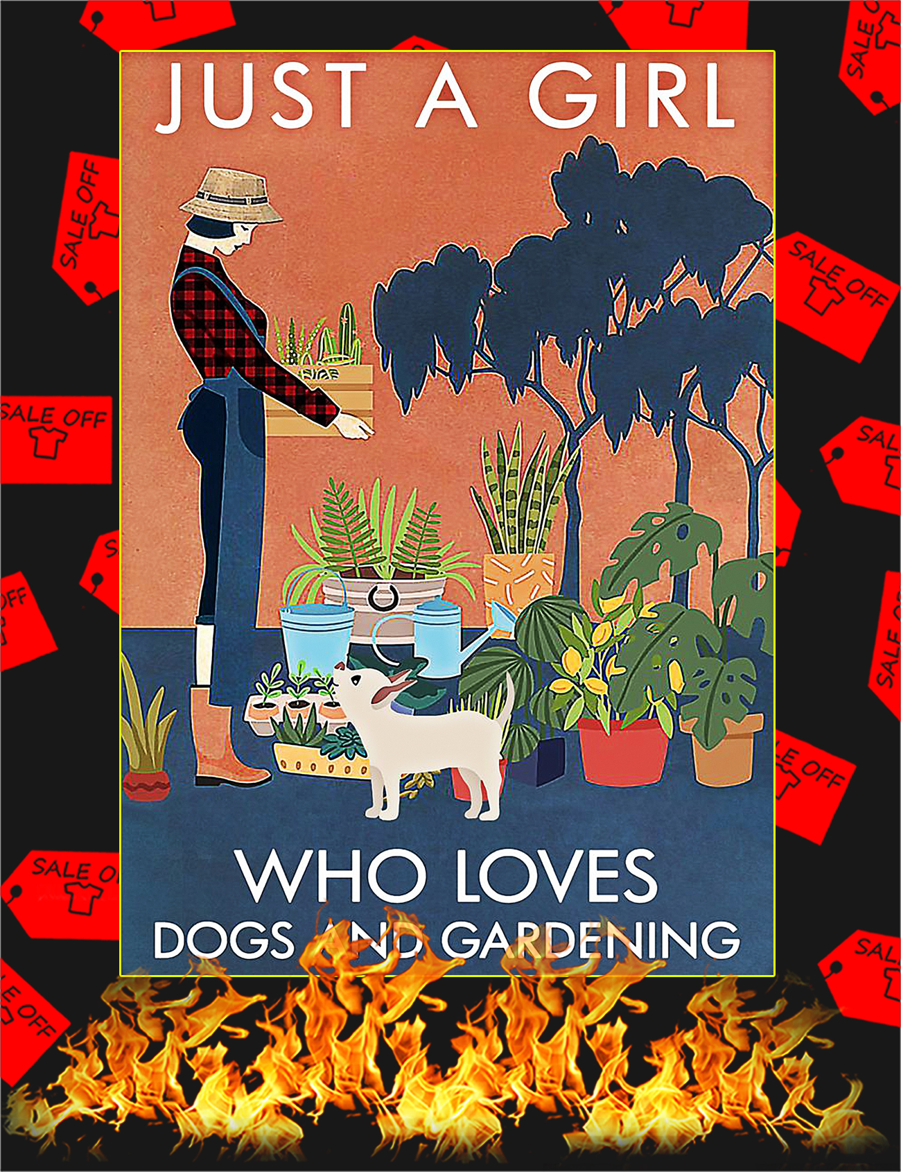 Just a girl who loves dogs and gardening poster - A4