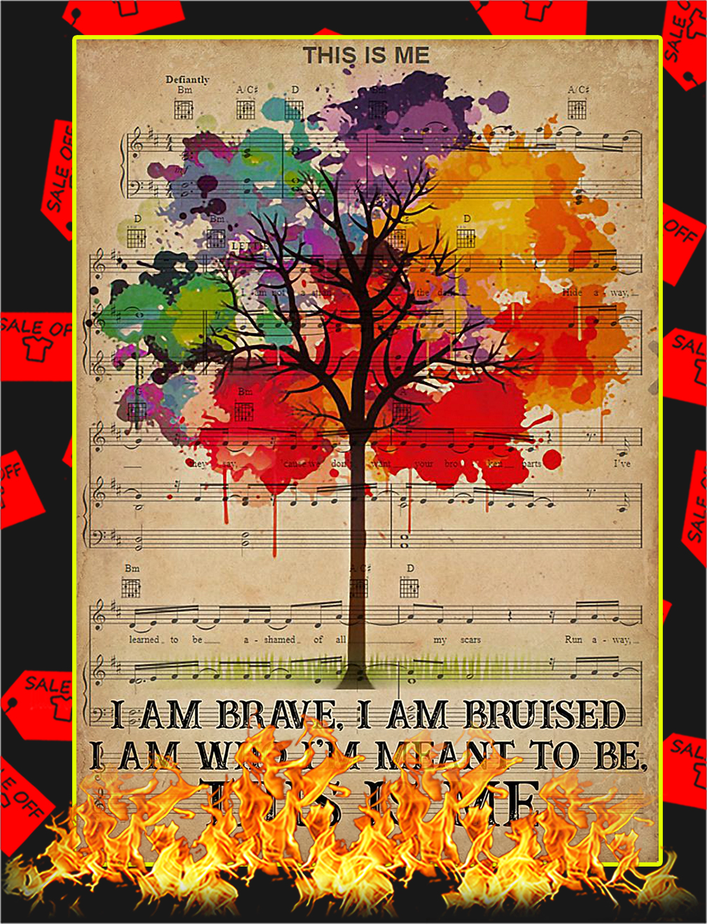 LGBT I am brave I am bruised poster - A4