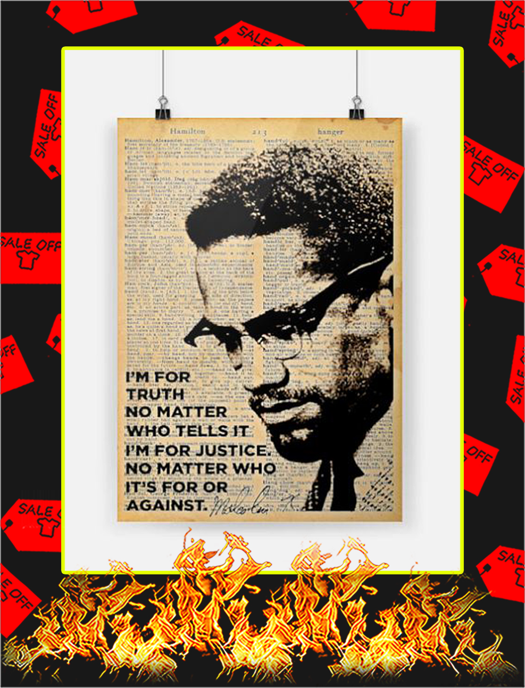 Malcolm x I'm for truth no matter who tells it poster - A1