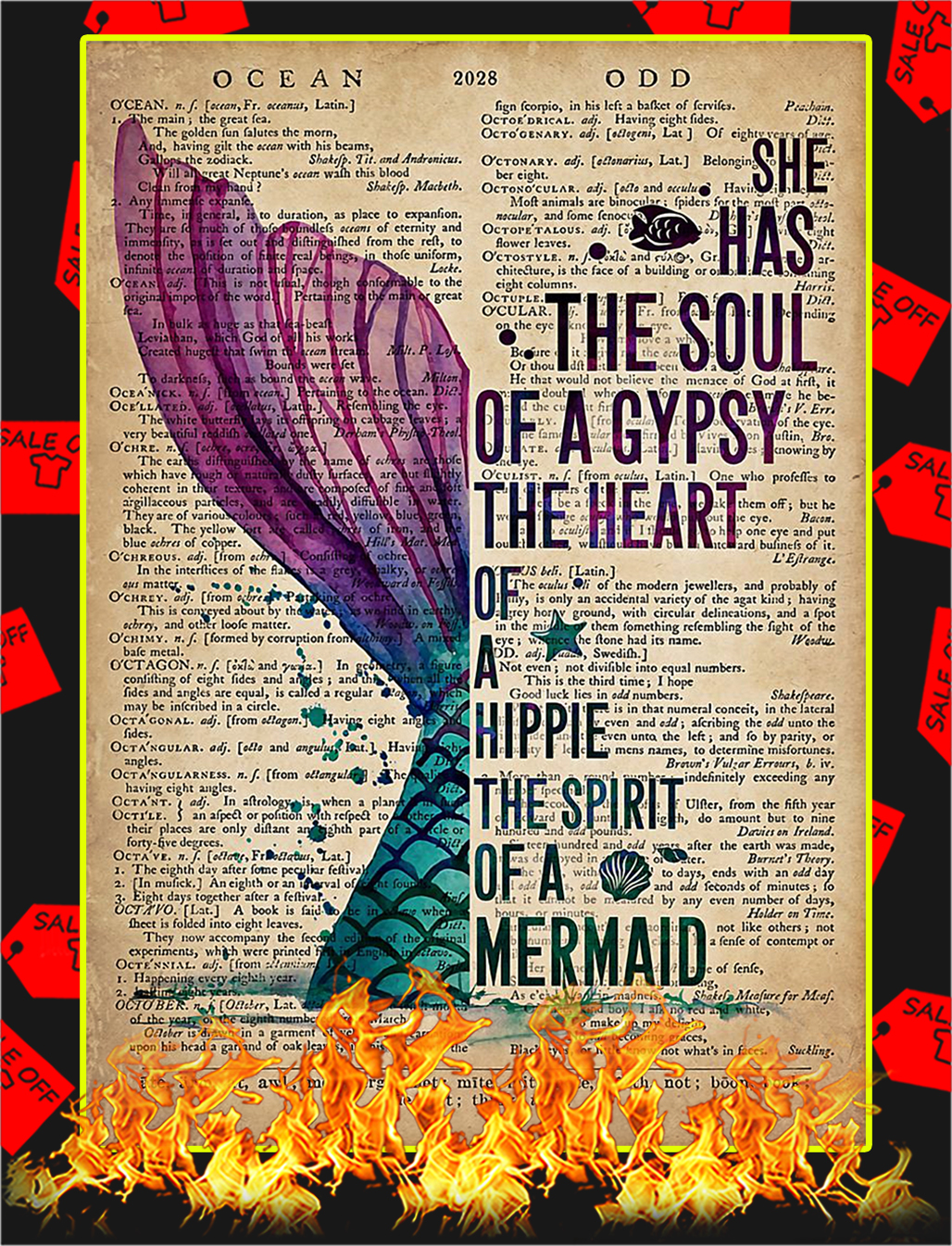 Mermaid She has the soul of a gypsy poster - A2
